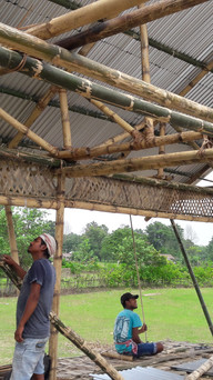 mounting the corrugated steel roof