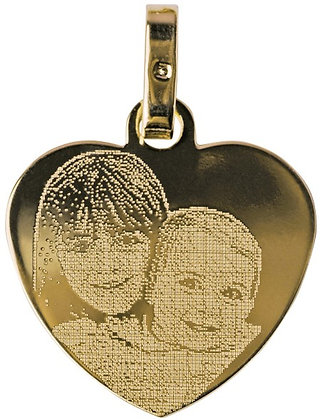 P11 Pendentif plaqué or Coeur avec photo