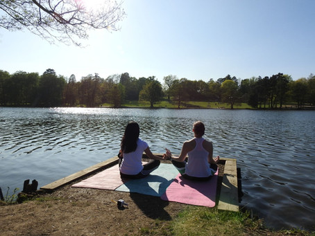 Yoga session outdoors in West Sussex