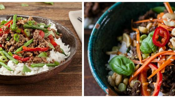 Speedy Basil Beef Rice Bowls
