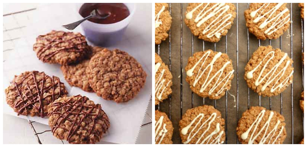 Chocolate Drizzled Oat Cookies