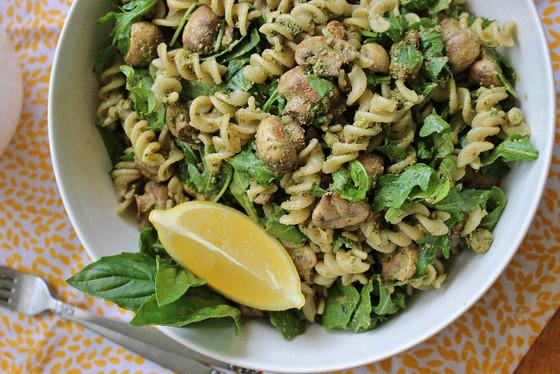 Lemon Mushroom Basil Pasta