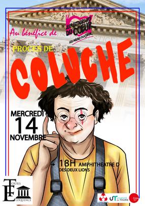Affiche du procès fictif de Coluche