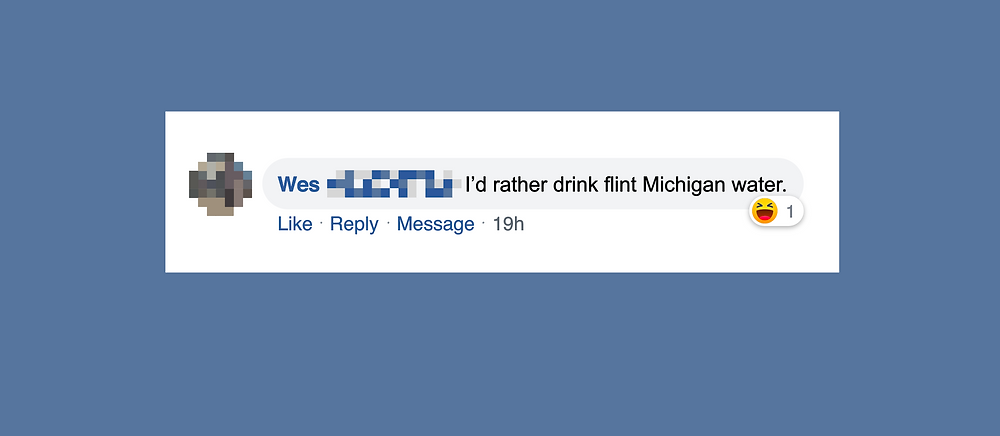 """Image of facebook comment stating, """"I'd rather drink flint Michigan water."""""""
