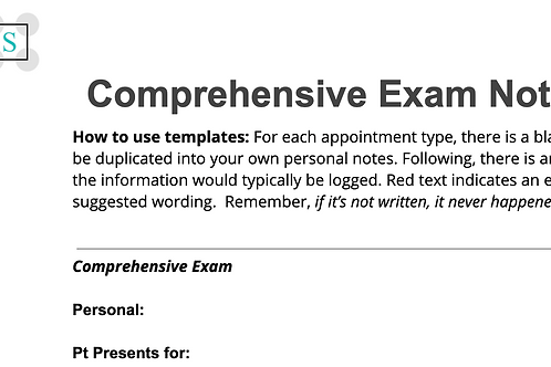 Comprehensive Exam NoteTemplate