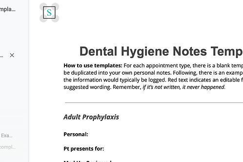 Dental Hygiene Notes Template - 5 Templates!