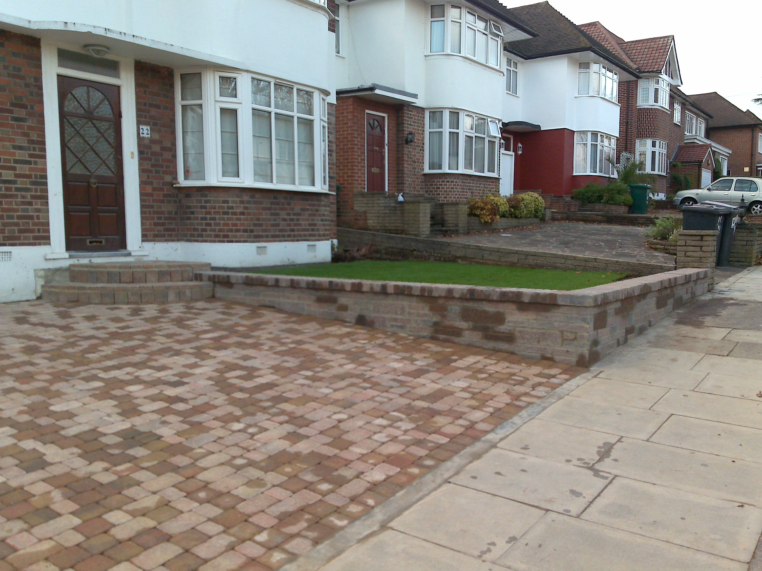 driveway, paving, landscaping, lawn