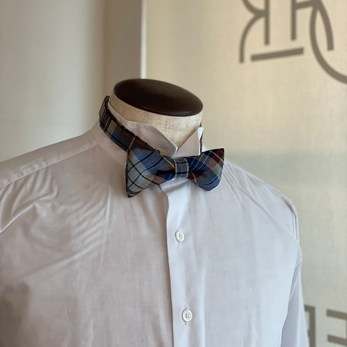 wool bowtie - butterfly/blue check