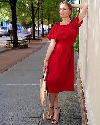 Копія Сукня-сорочка з V вирізом червона