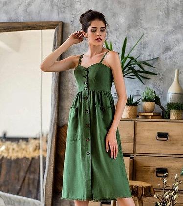 Сарафан зелений льон