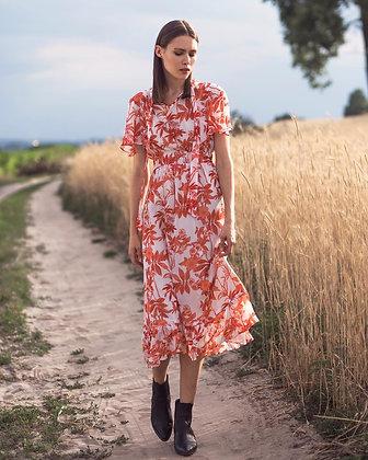 Шифонова сукня міді в квіти із завязками