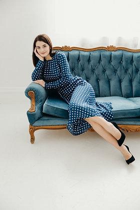 Сукня синя в білий квадрат