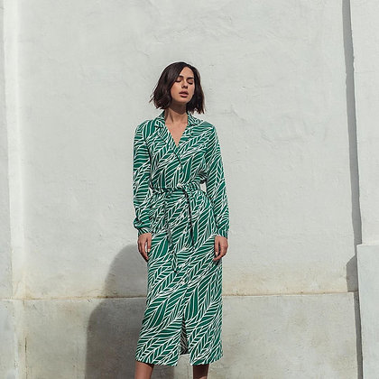 Сукня сорочка принт зелене листя