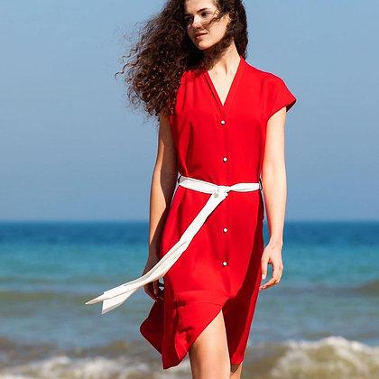 Сукня-сорочка з V вирізом червона