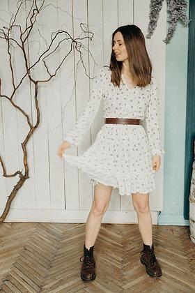 Сукня біла в квіточки, коротка