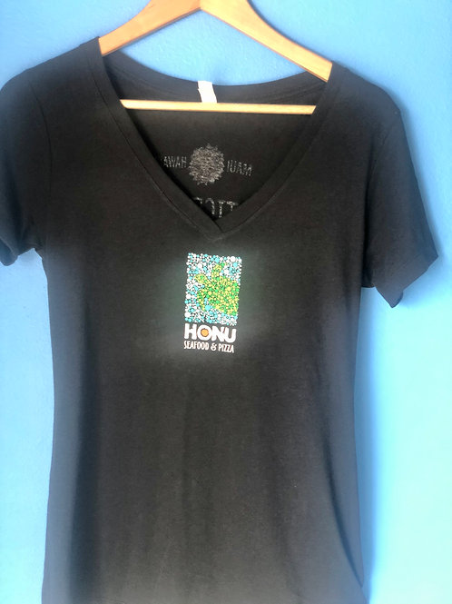 Honu Seafood Women's T-Shirt/ Practice Aloha on Back