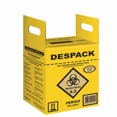 Caixa coletora de resíduos hospitalares perfurocortantes despack 13L