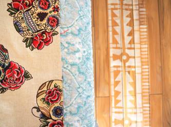 Carefully choosen fabrics, wooden floors, painted carpets