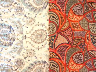 Beautiful fabrics on comfortable beds