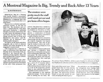 Article sur le magazine Manoeuvres paru dans le journal du New York Times