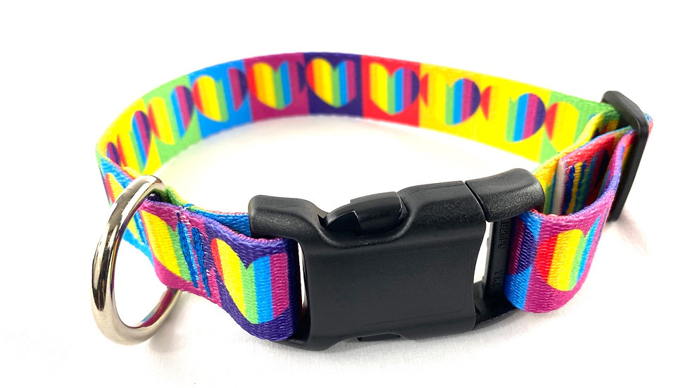 Rainbow Hearts s/m pet collar