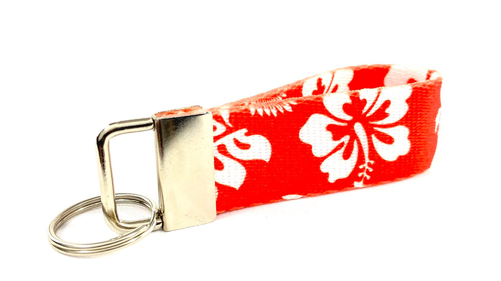 Red Hibiscus Key Fob