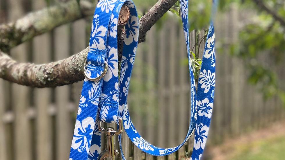Royal Blue Hibiscus pet leash 6ft