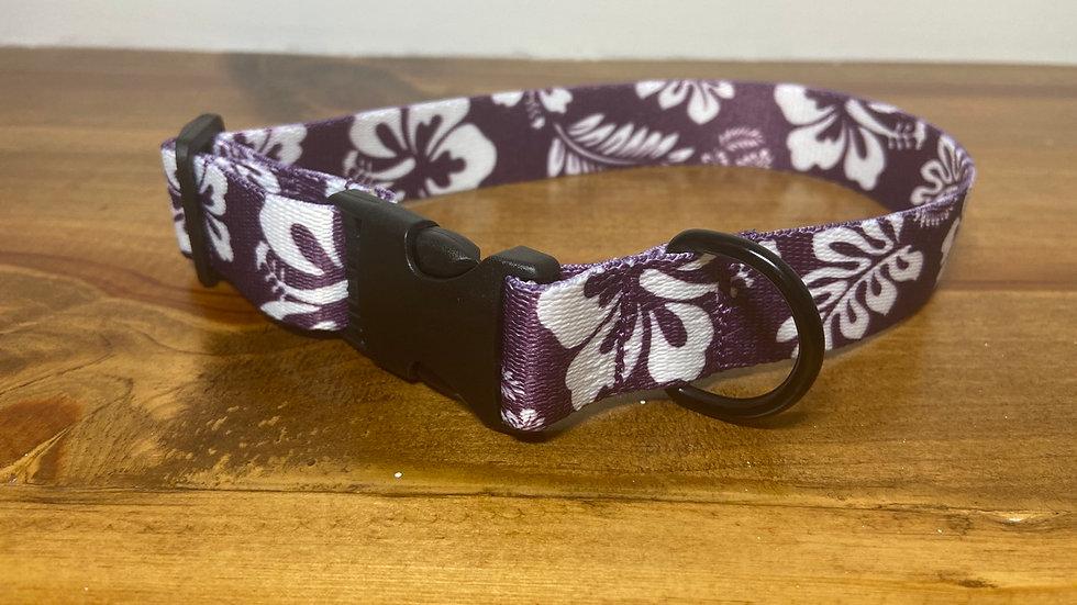 S/M Purple Hibiscus pet collar