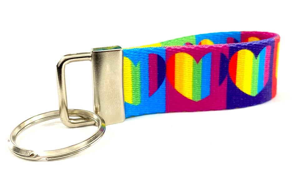 Rainbow Hearts key fob
