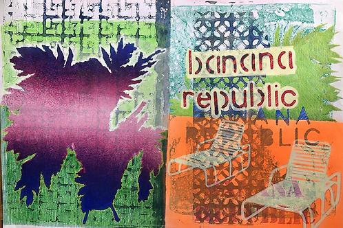 Intervened Monoprint Banana Republic No 7