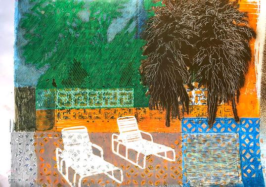 Renata Fernandez. Monoprint A3 Poolside.
