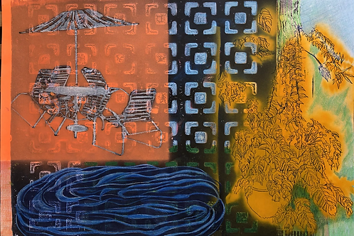 Monoprint A3 Deep Sark Waters. 2021
