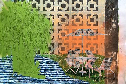 Intervened Monoprint Poolside No 7
