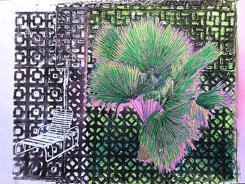 Monoprint A3 Palm Chair 1