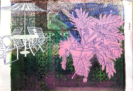 Monoprint A3 Una de Danta Parasol 1. 202