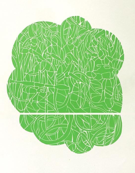 Renata Fernandez. John Moore Green Vinyl Model Installation