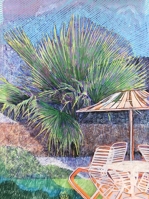 Monoprint A4 Palm Parasol No2
