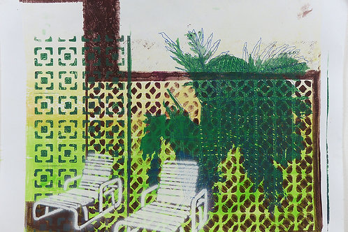 Monoprint A3 Deckchairs Yellow-Brown