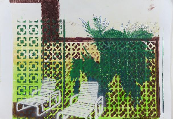 Monotype Print Yellow-Brown. 2018