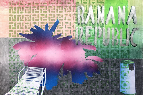 Monoprint A3 Banana Republic No6 2021