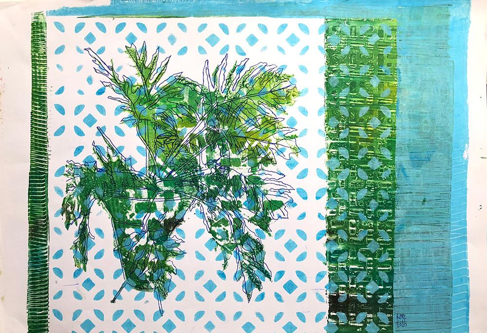 Monoprint A3 Una de Danta Blue-White-Gre