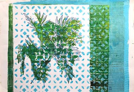 Monoprint A3 Una de DantaBlue-White-Gree