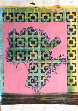 Monoprint A3 Palm Pink. 2020