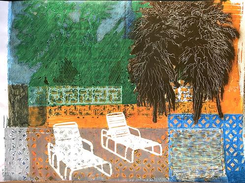 Monoprint A3 Poolside No1 2020