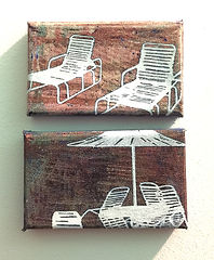 Deck Chairs Series Small Diptych 1, oil