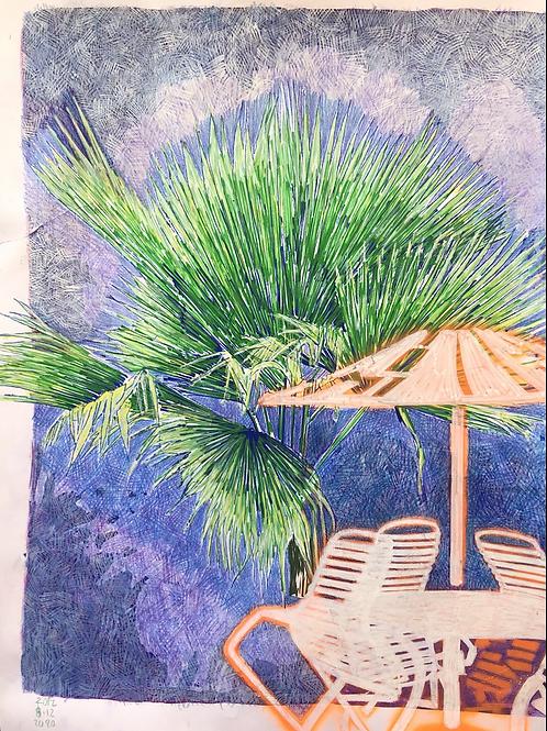 Monoprint A4 Palm Parasol 1
