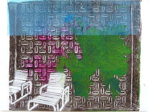 Monoprint A3 Deckchairs Series, Blue Sky