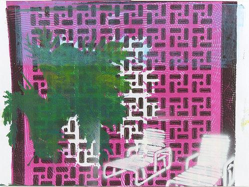 Monoprint A3 Deckchairs Series Pink