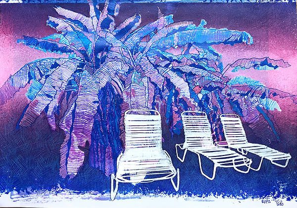 Monoprint A4 Banana Chairs 2. 2020