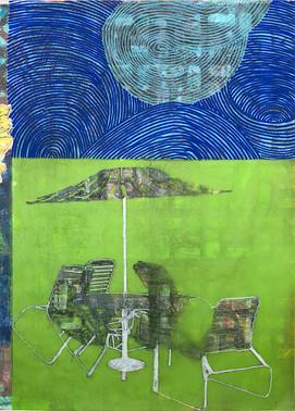 Renata Fernandez. Monoprint A4 Blue Sky.